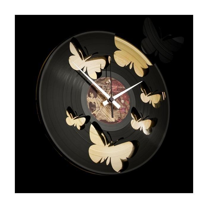 Designové nástěnné hodiny Discoclock 056 Motýli Gold 30cm + prodloužená záruka 3 roky