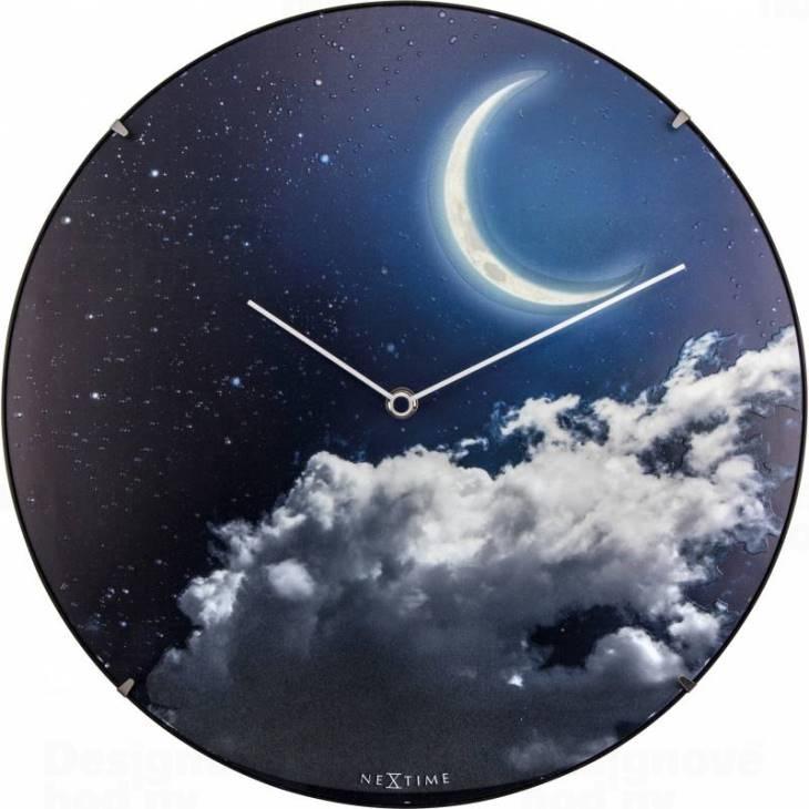 Hodiny a budíky - Designové nástěnné luminiscenční hodiny Nextime 3177 New Moon 35cm