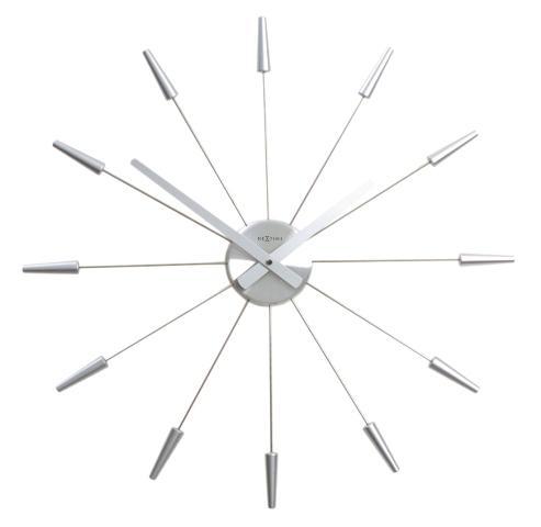 Designové nástěnné hodiny 2610zi Nextime Plug Inn stříbrné 60cm + prodloužená záruka 3 roky
