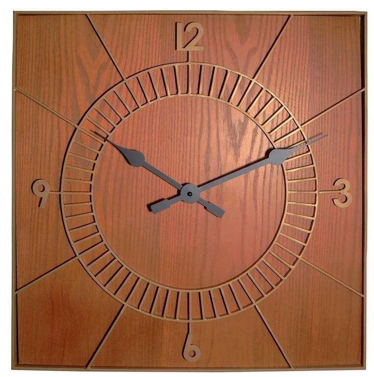 Designové nástěnné hodiny 3112br Nextime Wood Square 50cm + prodloužená záruka 3 roky