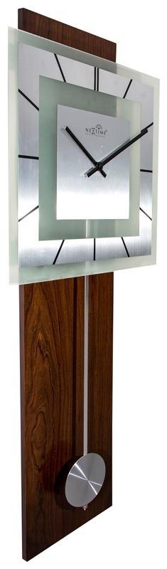 Designové nástěnné hodiny řízené signálem DCF 3144 Nextime Retro Pendulum Square 80 cm + prodloužená záruka 3 roky