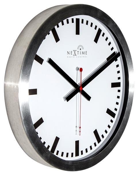 Designové nástěnné hodiny řízené signálem DCF 3999strc Nextime Station Stripe 35cm + prodloužená záruka 3 roky