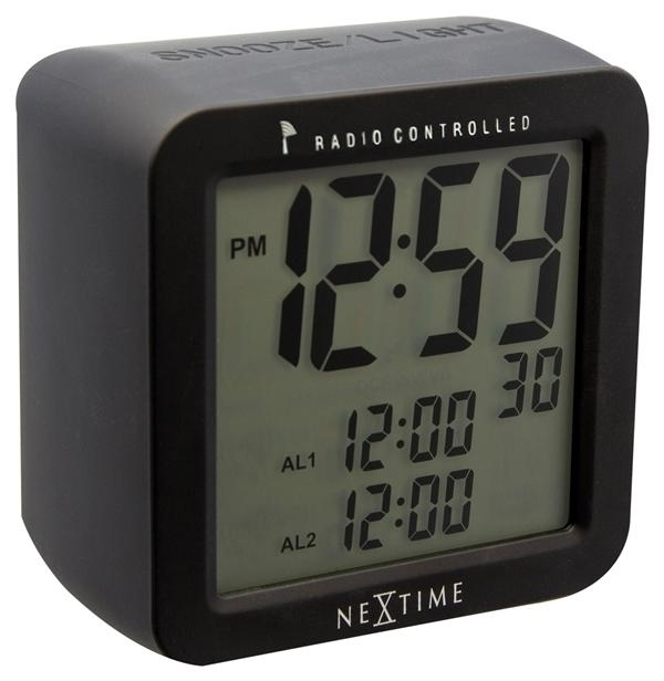 Designové stolní digitální hodiny řízené signálem DCF 5201zw Nextime Square Alarm 10cm + prodloužená záruka 3 roky