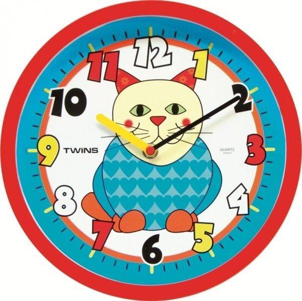 Nástěnné dětské hodiny Twins 10410 kočka 26cm + prodloužená záruka 3 roky