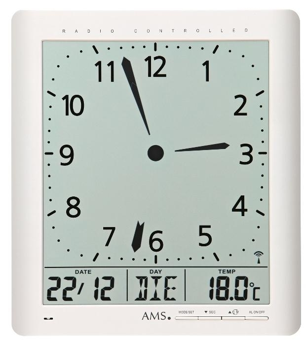Digitální nástěnné i stolní hodiny 5896 AMS řízené rádiovým signálem 24cm + prodloužená záruka 3 roky