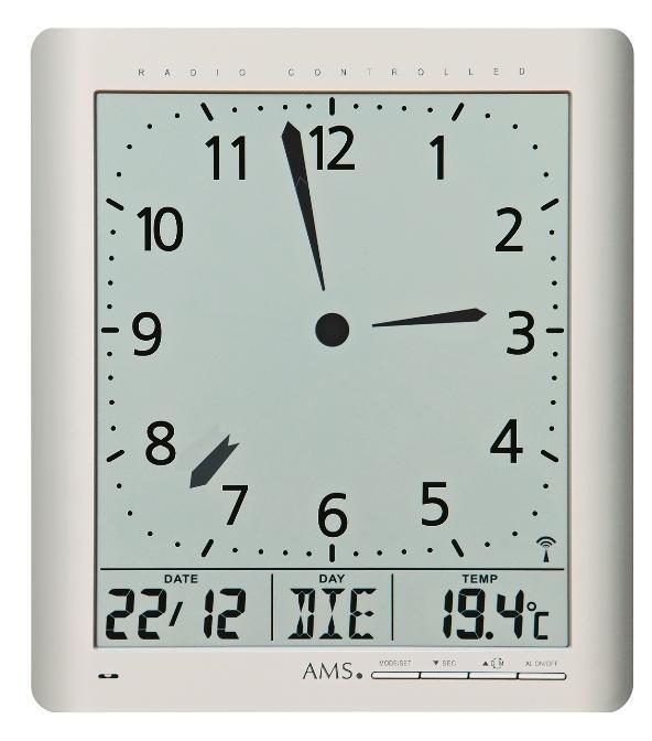 Digitální nástěnné i stolní hodiny 5898 AMS řízené rádiovým signálem 24cm + prodloužená záruka 3 roky