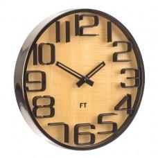 Designové nástěnné hodiny Future Time FT7010TT Numbers oak titanium 30cm