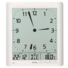 Digitální nástěnné i stolní hodiny 5896 AMS řízené rádiovým signálem 24cm